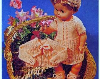 KNITTING PATTERN - To fit 20 inch DOLL - Dress, jacket, Hat/cap and Booties