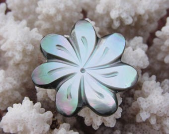 Adjustable Tahitian TIARE flower of Tahitian Pearl ring / / gift for her / / From Tahiti with love
