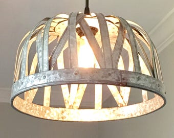 Galvanized Pendant Light - ceiling light, rustic lighting, farmhouse, vintage, kitchen lighting