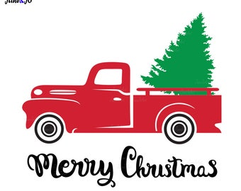 Truck With Christmas Tree SVG,Red truck Tree SVG,Christmas Tree svg Files,Truck With Tree eps, dxf, png,pdf,Merry christmas truck tree svg