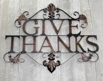 Give Thanks Metal Wall Art