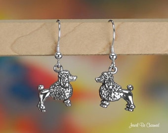 Poodle Earrings Sterling Silver Pierced Fishhook Earwires Solid .925
