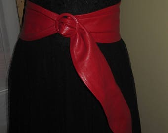 Woman's Vintage Extreme Wide Red Leather Belt