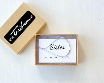 Custom Morse Code Bracelet Sister Best Friend Bracelet Gift Minimalist Morse Code Personalized Jewelry Dainty Silk Cord Bracelet