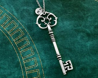 Key Necklace LARGE Key Charm Necklace Skeleton Key Jewelry Antique Key Vintage Key Pendant Personalized Jewelry Initial Necklace Key Gift