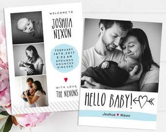 Birth Announcement - Baby Photocard - Baby Announce - Newborn Announcement - Photoshop Template for Photographers - BA008 - instant download