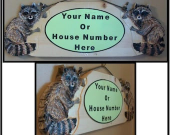 Hand Carved Wooden Raccoon Custom Sign