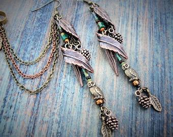 Owl Earrings,Owl Cuff SET, Woodland Earrings,Woodland Cuff,Woodland Elven Ear Cuffs,Tribal feather cuff,Boho,Festival Jewelry, Hippie Gypsy