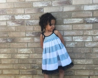 Spring dress, Sundress, Stripes, Blue