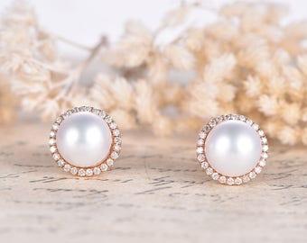 Akoya Pearl Earrings Solid 14K Rose Gold Pear Studs HALO Diamond Earrings Wedding Earrings Pearl Stud Earrings Akoya Pearl Earrings Wedding