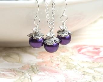 Purple Bridesmaid Jewelry Set of Necklace Earrings Dark Purple Bridesmaid gift Purple Wedding Bridesmaid Jewelry Set Wedding party Flower