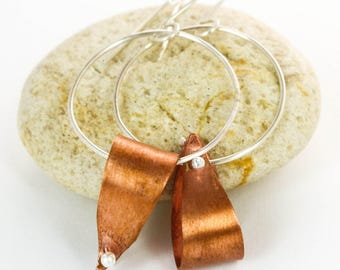 Mixed Metal Earrings Mixed Metal Hoop Earrings Silver and Copper Dangling Hoops Rustic Metal Earrings Silver Earrings Copper Earrings