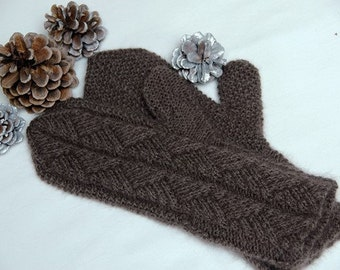 """Qiviut Mittens for women """"Hernando Island"""" - handknit in pure qiviut (muskox underdown) with cable pattern MADE TO ORDER"""