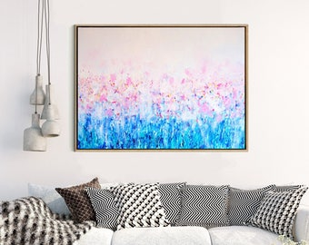 Abstract Canvas Print, Abstract Flower ,Giclee Print , Fine art Print , Modern Art ,  Contemporary flowers , Abstract Art Print ,  Pink blue