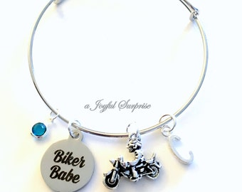 Motorcycle Bracelet, Biker Babe Gift for Biker Chick Jewelry, Silver Charm Bracelet Pendant Bangle Birthstone initial letter custom women