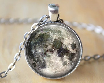 Full Moon Necklace Space Picture Pendant Galaxy Jewelry Gift for Her Antique Silver Pendant Gift For Mom Pendant Birthday Gift