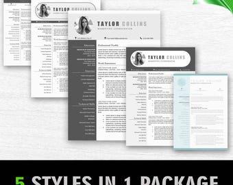 Modern Resume Template for Word + Cover Letter | 1, 2 & 3 Page Resume Templates, Professional Resume Template Instant Download Resume Bundle