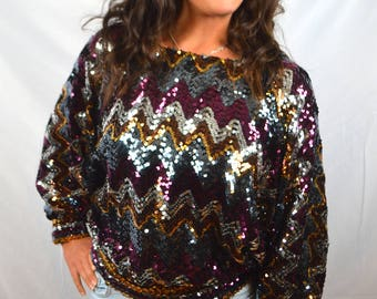 Awesome 80s Sequined Party Batwing Rainbow Disco Top