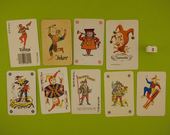 Vintage Joker playing cards. 9 Joker card collection, trump cards, clowns, jesters, colour illustration, Man cave decor, Bar decoration.
