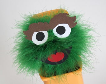 """Green Monster garbage can table top decoration, small, inspired by """"Oscar the Grouch"""" from Sesame Street"""