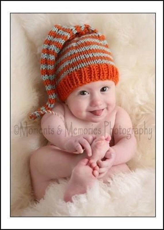Baby Hat Knitting Pattern Long Tail Stocking Cap Pic Tutorial