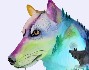 """Wolf surreal watercolor """"Howl"""""""