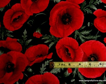 One Fat Quarter Cut Cotton Quilting Fabric, Large Bright Red Poppies & Buds by CHONG- A HWANG 4 Timeless Treasures, Sewing-Quilting Supplies