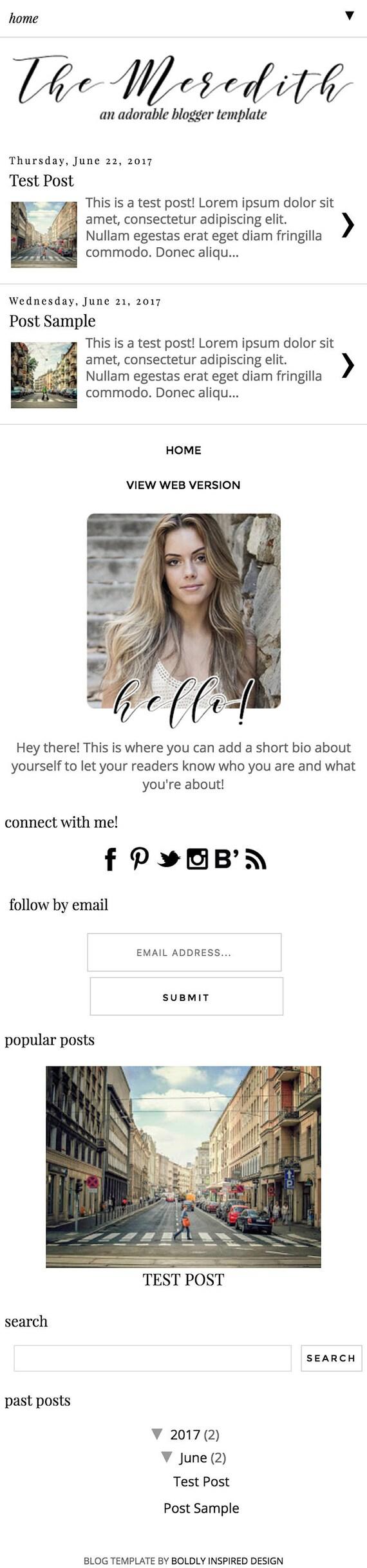 Blogger-Template Meredith Blog-Design-Vorlage Blogger