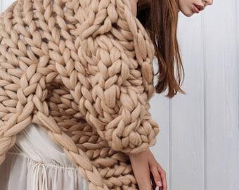 Chunky knit sweater. Big yarn cardigan. Chunky knitting. Bulky wool knitwear. Giant knitting oversized cardigan. Her - extreme knit coat.