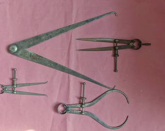 Vintage  Mathematical Drawing Instruments  Moore and Wright.Sheffield. Calipers and dividers