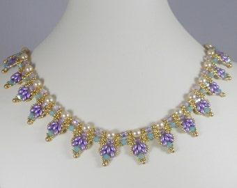 Woven Super Duo Collar Necklace Lavender