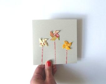Origami pinwheels card