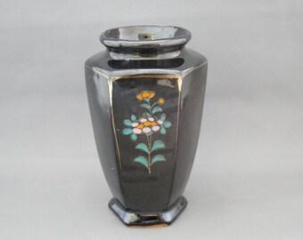 Vintage Hand Painted Redware Japanese Bud Vase