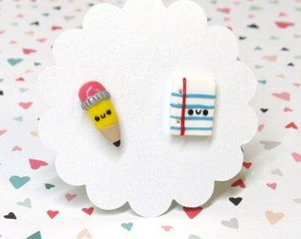 Pencil Earrings, Back to School, Cute Earrings, Pencil and Paper, School Earrings, Mismatch Stud Earrings, Teacher Jewelry Gift, Nickel Free