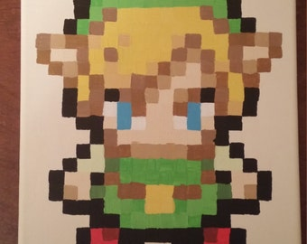 Link - Minish Cap pixel painting 8x10 canvas (GBA)