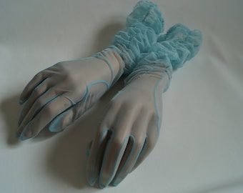 Vintage 1950s  ladies mid length baby blue ruched evening glove