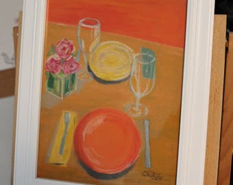 "Oil Pastels - *Framed Original* - ""Summer Picnic"""
