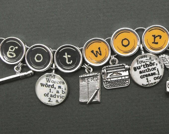 Writers Charm Bracelet Got Words Authors Writer Gift Literary Bookish Jewelry
