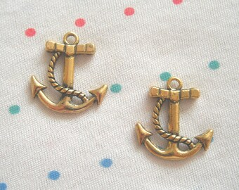 Antique Gold Anchor Charms, Rope Wrapped Anchor, Nautical Style, Antique Finish, 24 mm (12)