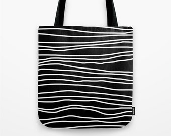 Black and White Tote Bag - Book Bag - Grocery Bag - Beach Bag - Striped Black and White -  Made to Order