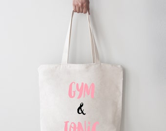 Gym & Tonic tote bag | Gym bag | Gin lover | Holiday | Shopper | Packable | Funny | Travelling | Beach bag | 5p bag
