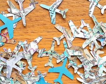 World Atlas  Plane Confetti Shapes - Bonvoyage  Paper Planes - Travel Themed Party Confetti- Atlas Party Table Decor