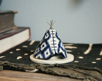 Incense Holder Teepee, Handmade Ceramic, Bohemian Style, Navy Blue Boho Ikat Pattern Design, Stoneware Clay, Meditation Altar