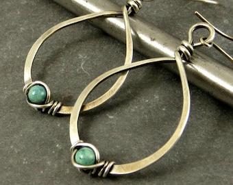Sterling Silver Teardrop Earrings Wire Wrapped Earrings Turquoise Fossil Stone Eco Friendly Jewelry