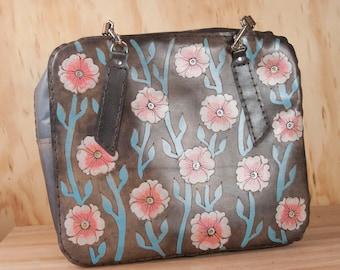 Floral Tote - Leather Weekender Style Tote with Zipper Closure in the Aurora Pattern - Flowers and Vines in Pink, Sage and Antique Black