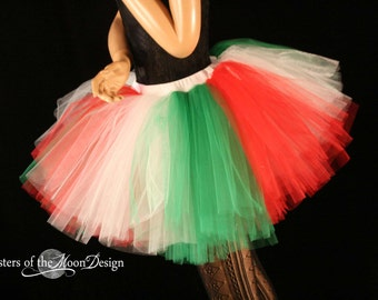 Adult tutu skirt Christmas monster Extra puffy red white green Adult costume elf Italian holiday party -You Choose Size- Sisters of the Moon