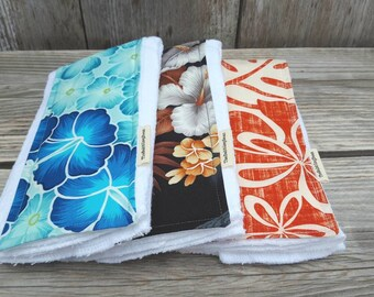 Diaper burp clothes- Hawaiian burp cloth-set of three burb cloth-gender neutral burp cloth-Hawaiian baby gift-cotton burp cloth-shower gift