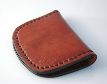 Natural leather flat wallet