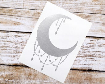 Crescent Moon Glossy Vinyl Decal, Moon Decal