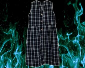 90s Black/White/Green/Yellow Plaid Maxi/Midi Tie Back Dress
